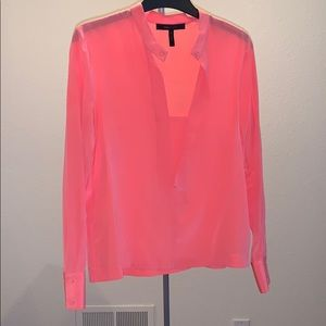 BCBGMAXAZRIA 100% silk long-sleeve top in coral